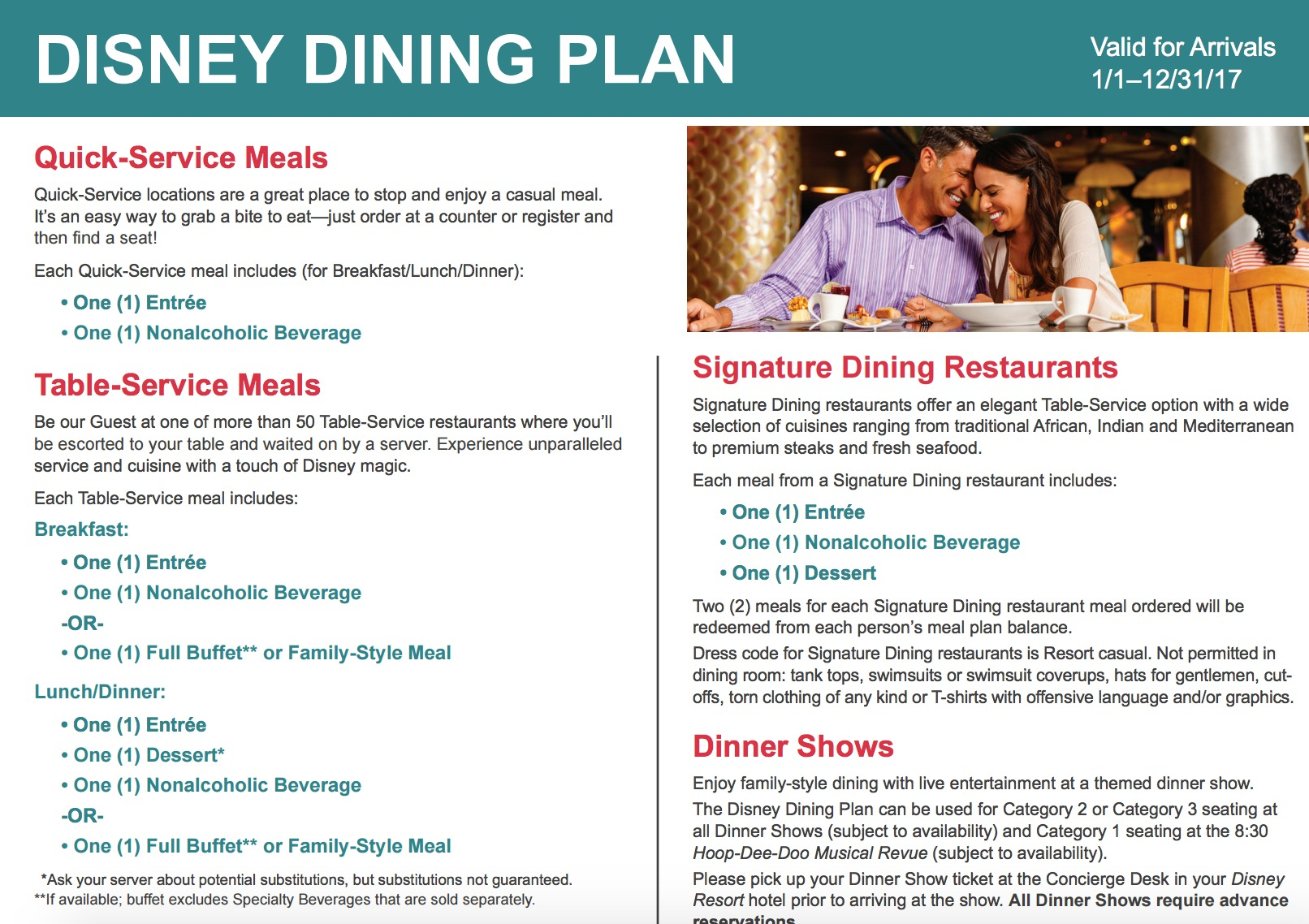 Disney dining plans are unavailable for Guests under the age of 3, but they may share from an adult plate at no extra charge, or an additional meal may be purchased from the menu. The price of the meal will be added to your bill. Disney dining plan locations are subject to change without notice or liability.